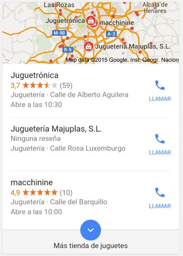resultados locales en dispositivos móviles