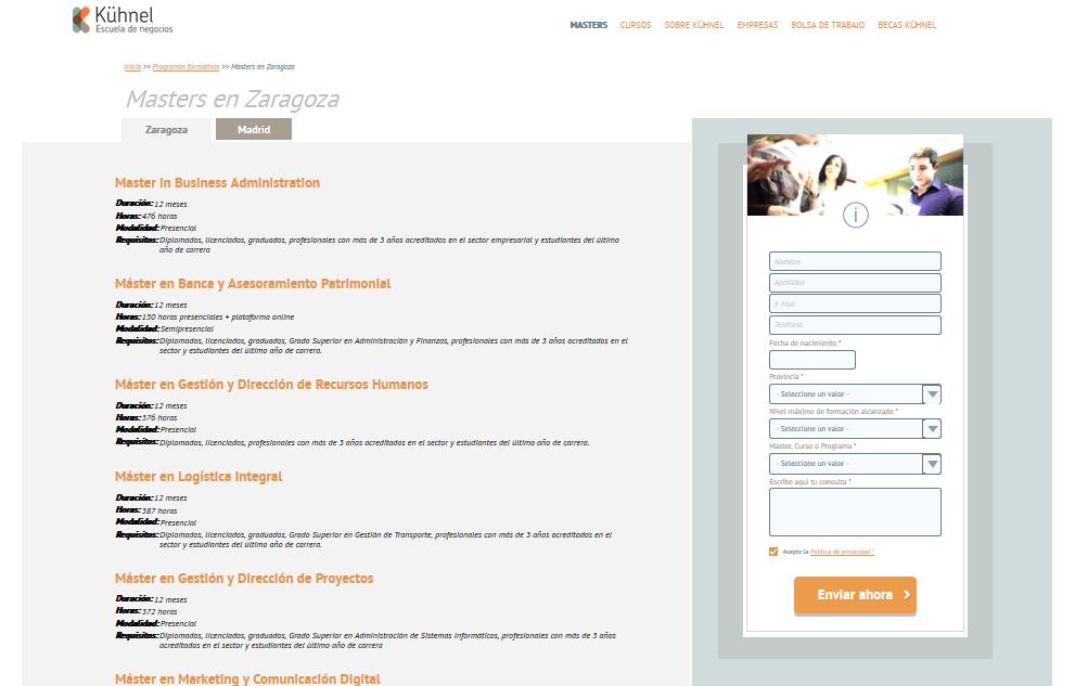 Ejemplo de formulario de captación de leads