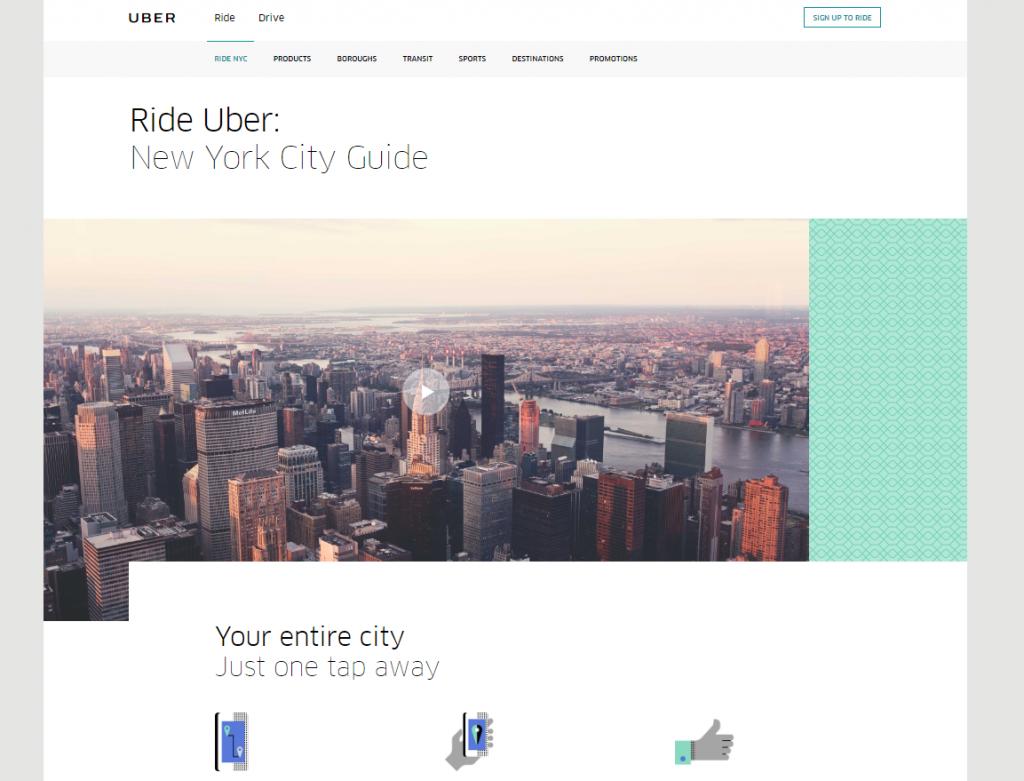 Guia de New York desarrollada por Uber