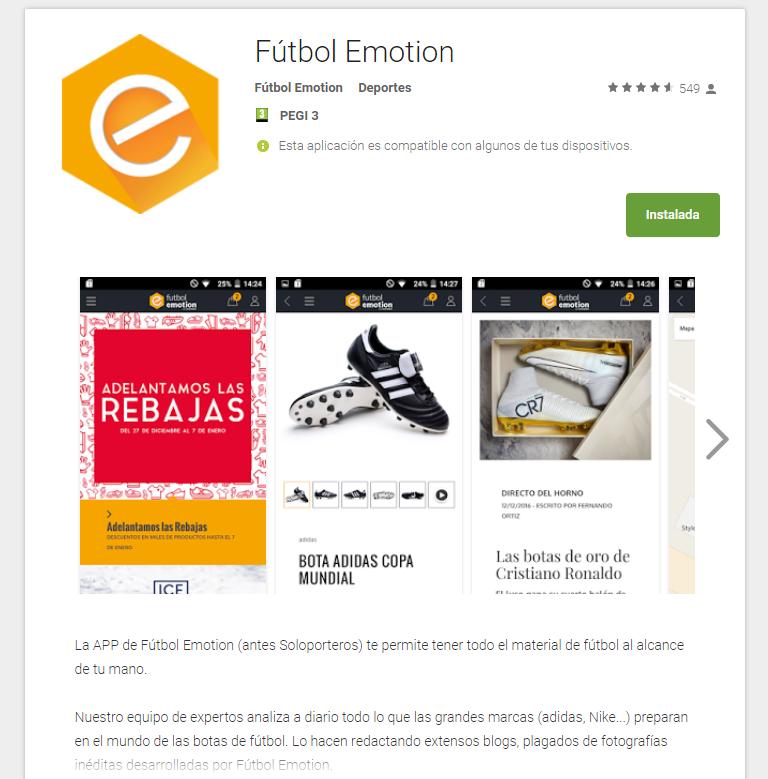 futbol emotion app