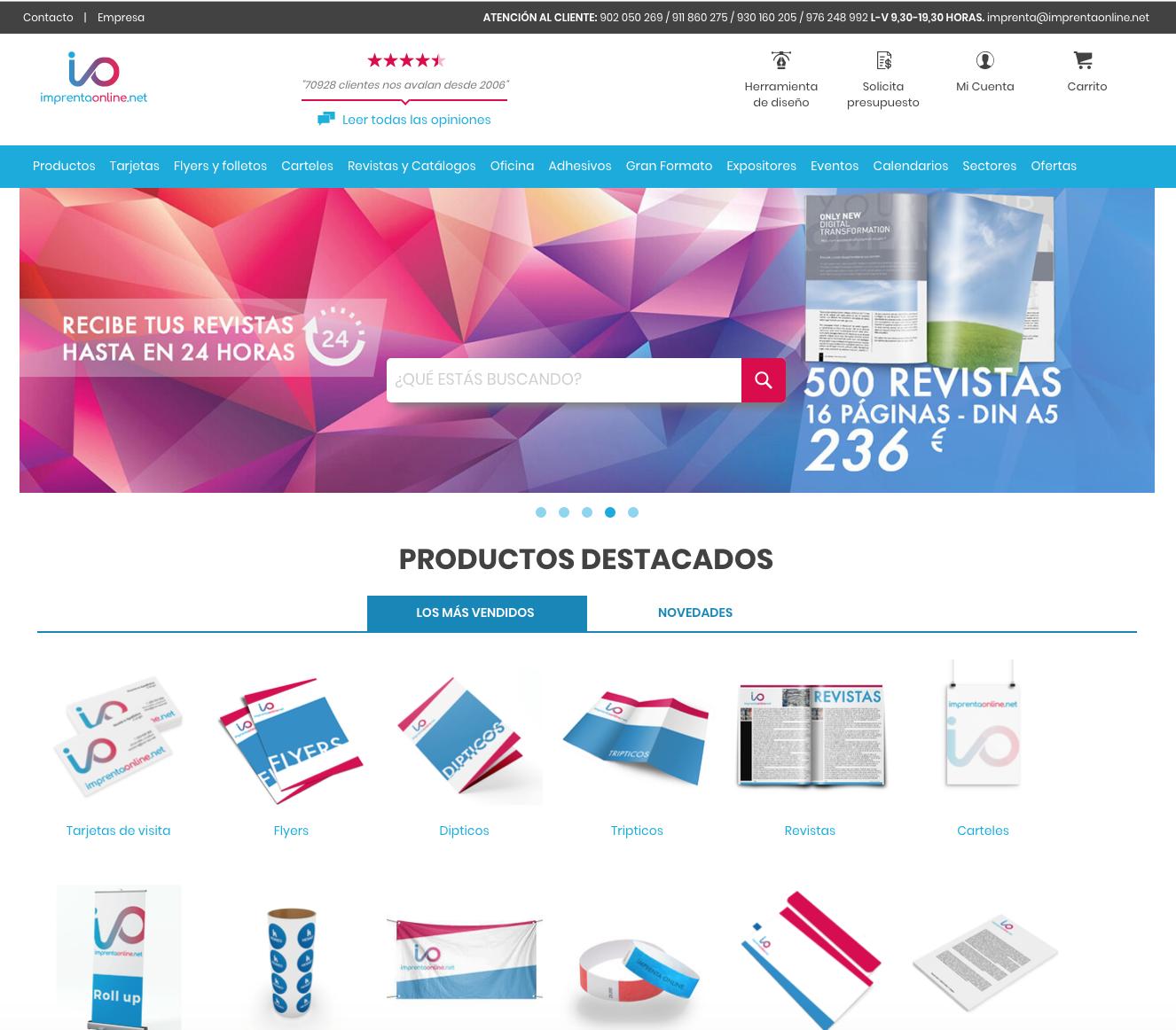 Nuevo diseño de ImprentaOnline.net
