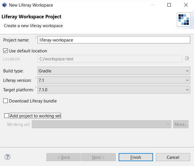 Configuración del Liferay Developer Studio: conjunto de trabajos