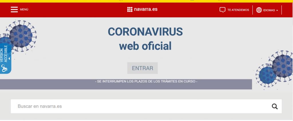 Web Oficial Coronavirus del Gobierno de Navarra