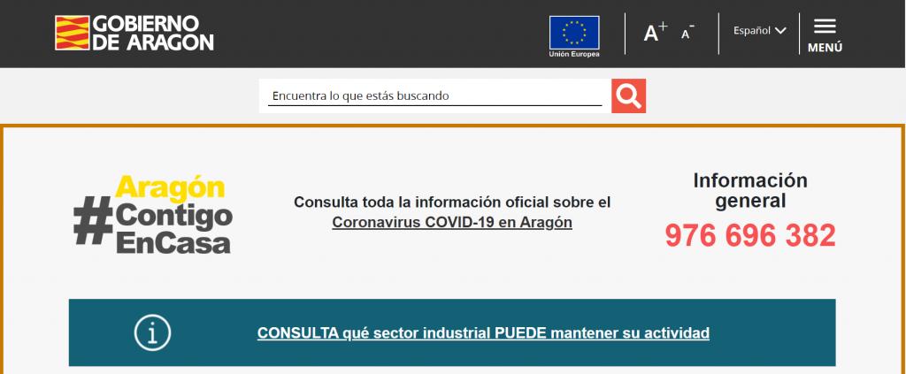Web Oficial Coronavirus del Gobierno de Aragón