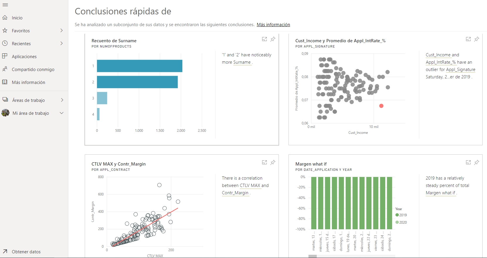 Configuración Quick Insights Data en Power BI