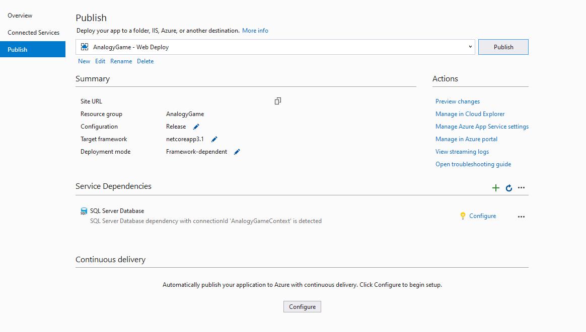 Asistente de Visual Studio para desplegar la aplicación