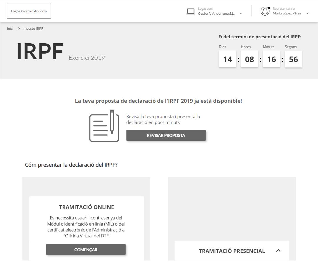 Prototipo del nuevo portal del IRPF